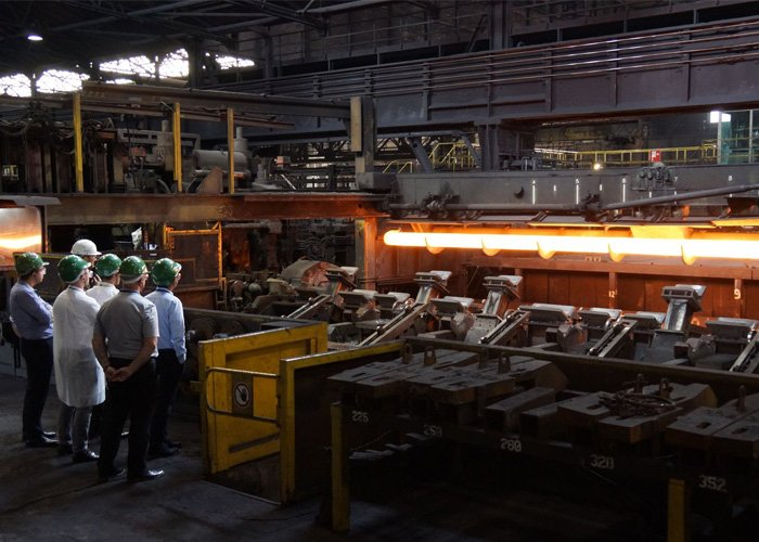 men visiting factory