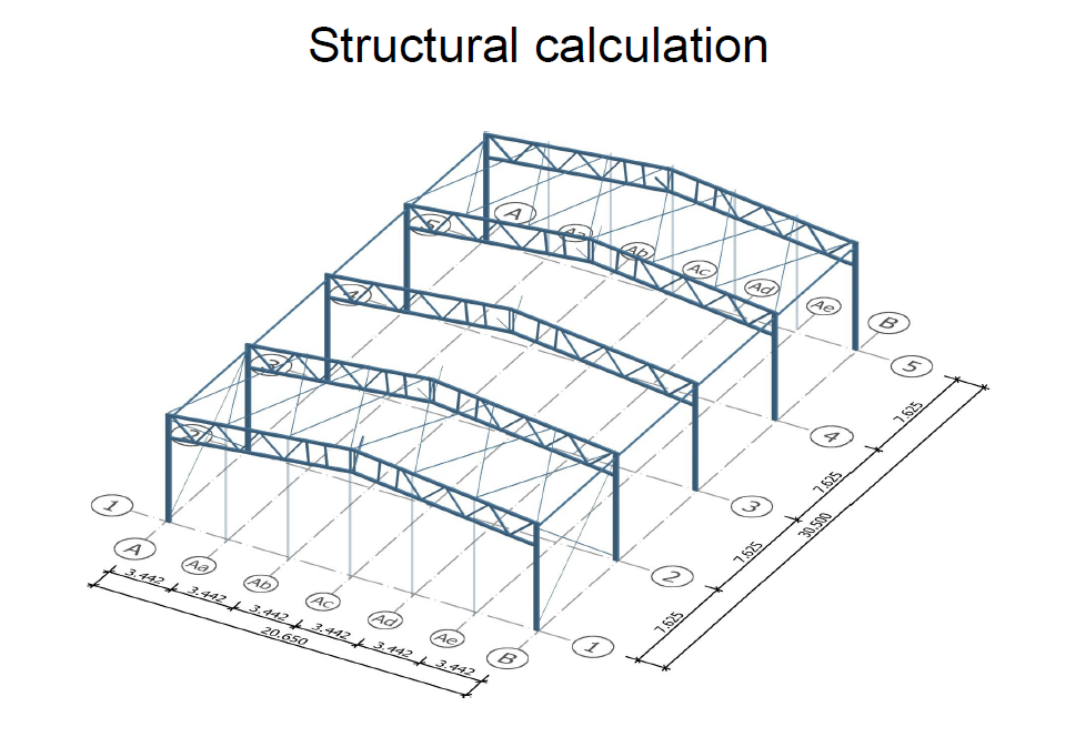Blueprint of a warehouse construction with MSH hollow sections