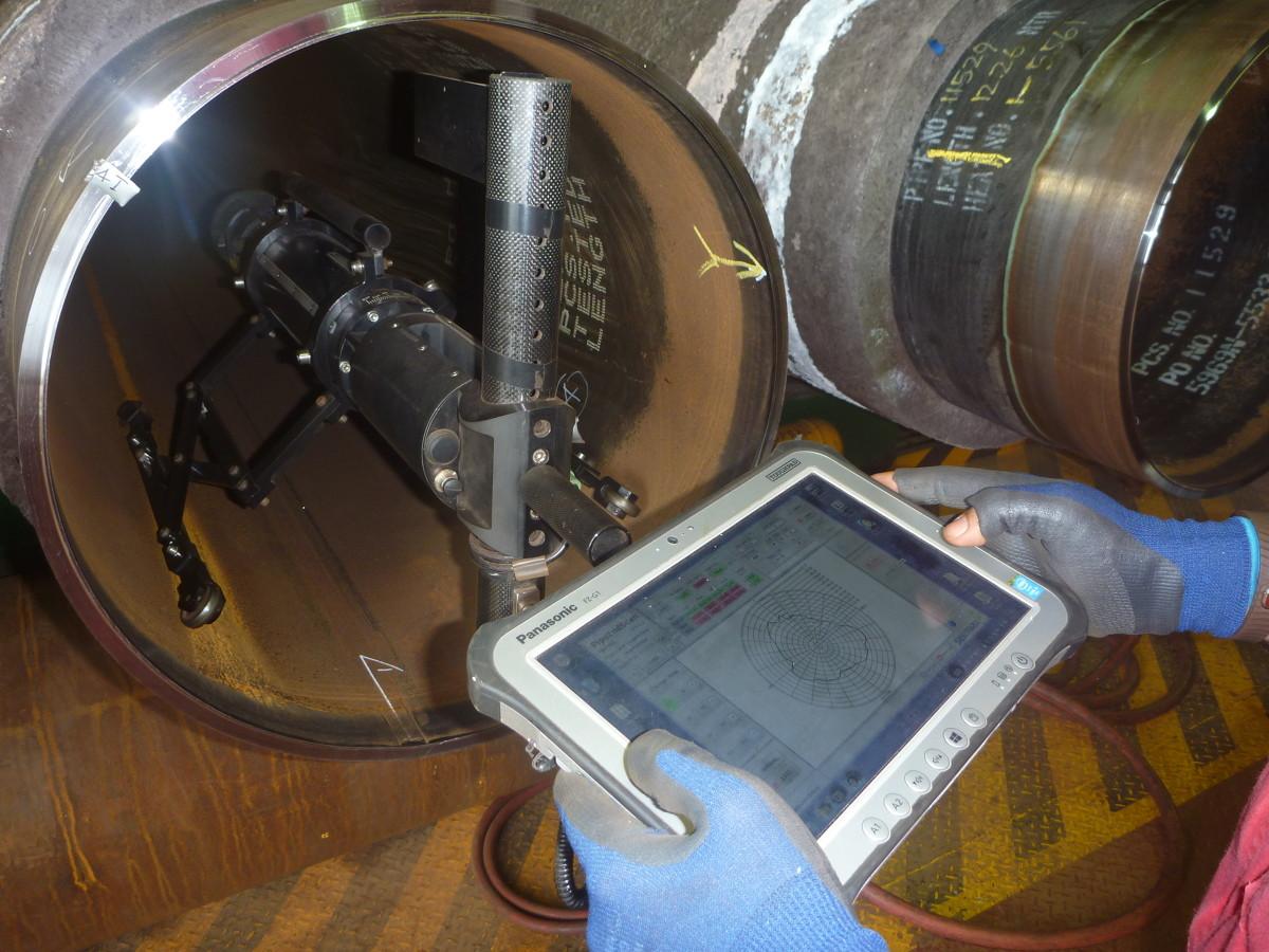 Cleverscan, un système automatique de mesures laser qui balaie l'intérieur du tube pour cartographier sa géométrie exacte