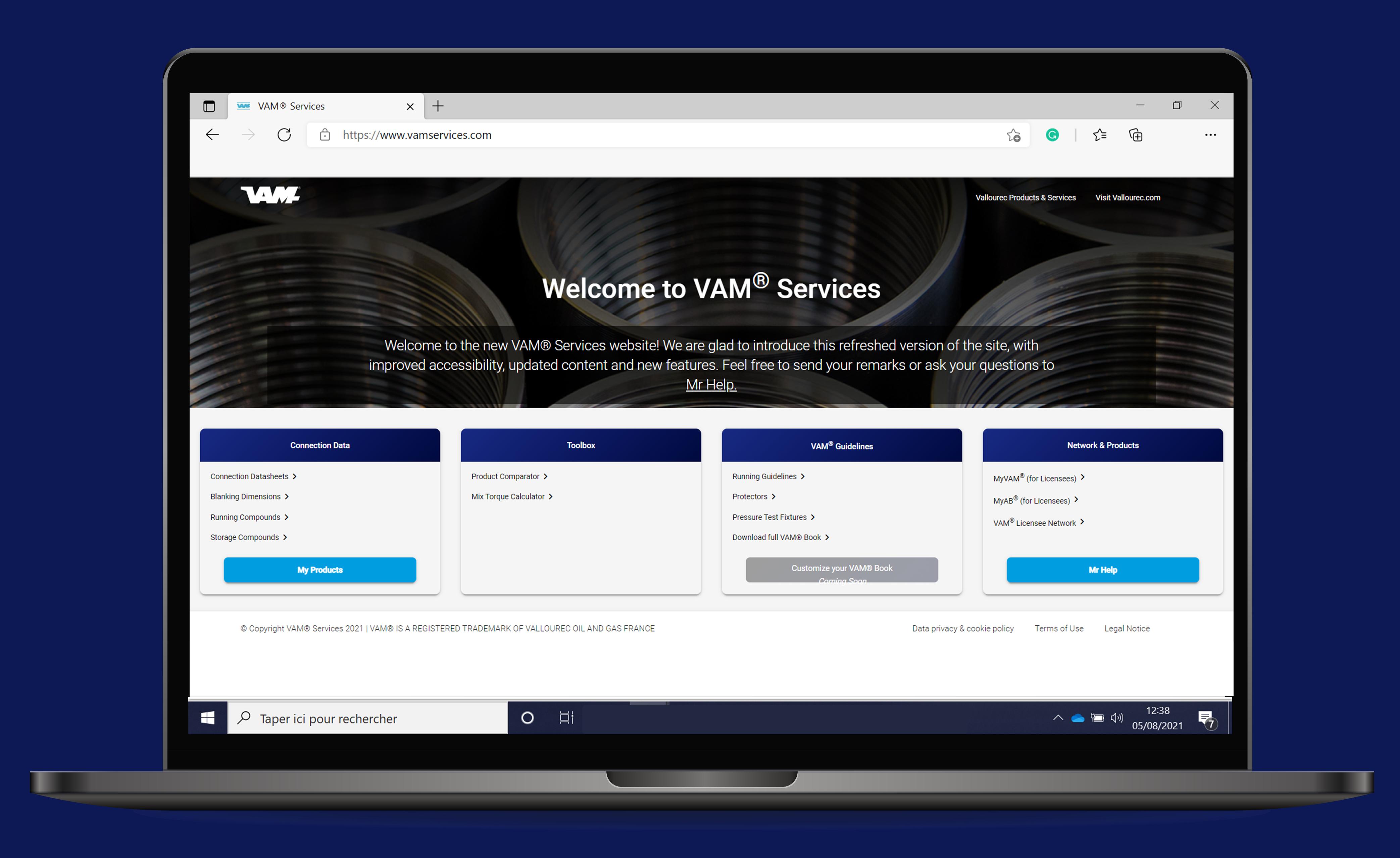 Screenshot of the new VAM website